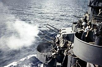 USS Biloxi (CL-80) - Gunnery practice, October 1943