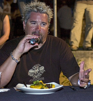 Food Network star Guy Fieri judges a dish duri...