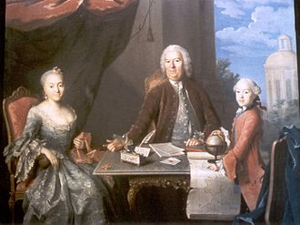 Abraham Pelt - Pelt with his wife and son painted by Johan Hörner in the 1750s
