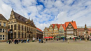 Bremer Marktplatz - Opposite view of the market square: Schütting and western side