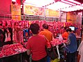 HK Ngau Tau Kok Road sidewalk shop pork meal seller Butcher n visitors Nov-2015 DSC.JPG