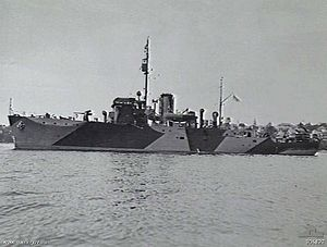 HMIS Bombay in Sydney Harbour in 1942