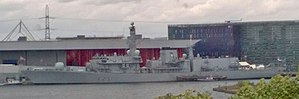 HMS Argyll (F231) - HMS Argyll moored in the Royal Victoria Dock for DSEI 2017.