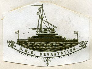 HMS Devastation (1871) - Heraldic badge used on stationery