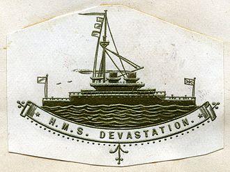 HMS Devastation (1871) - Heraldic badge used on stationery