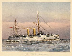 Chromolithograph of HMS Magicienne by W. Fred Mitchell, 1892