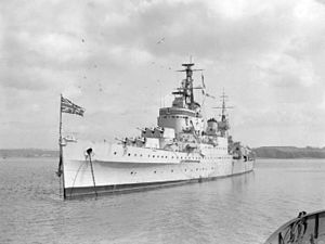 HMS Newcastle (C76) at anchor in Plymouth Sound.jpg