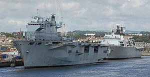 HMS Ocean and Albion in Weston Mill lake, cropped.jpg