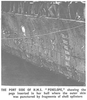 HMS Penelope (97) - Close-up of damage to Penelope in June 1942