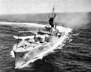 HMS Torquay (F43) - Image: HMS Torquay (F43) underway c 1961