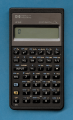 HP 21S calculator, front, power on displaying '0' (39756468054).png