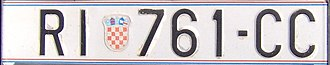 Vehicle registration plates of Croatia - The pre-2016 Croatian license plate format (RI = Rijeka)