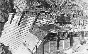 O'Shaughnessy Dam (California) - Construction work on the dam in August 1922