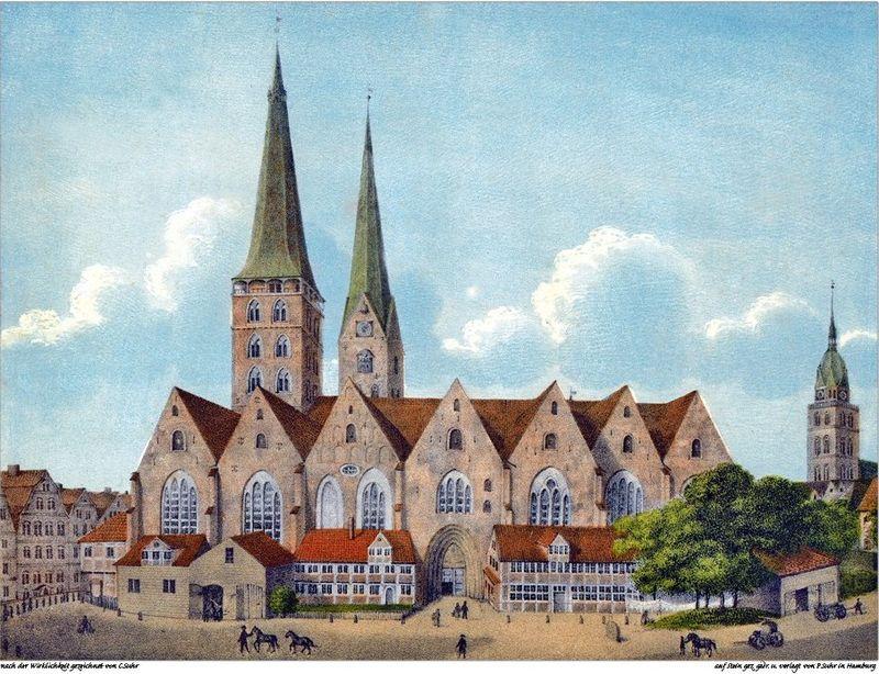 Katedra Mariacka w Hamburgu ok. 1800.W tle wieże kościołów św. Piotra i św. Jakuba. (litografia P.Stuhra wg rys. C.Stuhra)