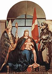Madonna enthroned with child and two figures