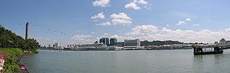 HarbourFront (Singapore) - Panoramic view of HarbourFront, with Cruise Bay in the foreground. Taken from the now defunct Sentosa Ferry Terminal.