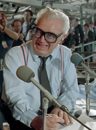 Harry Caray - Caray in the Wrigley Field booth in 1988
