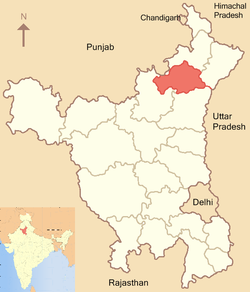 Location of Kurukshetra district in Haryana