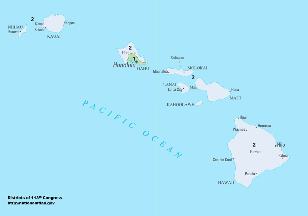 picture relating to Printable Map of Maui titled Hawaiis congressional districts - Wikipedia
