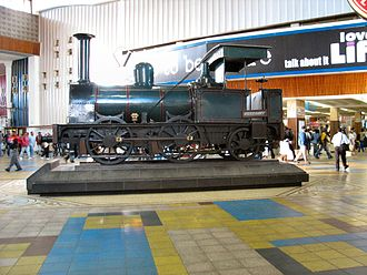 Cape Town railway station - Blackie, the first locomotive in South Africa, previously displayed at Cape Town Railway Station, now awaiting relocation to a new railway museum to be erected near the station