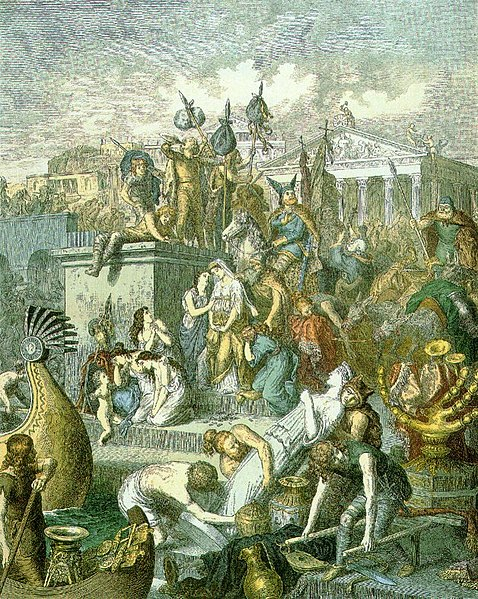 Ficheiro:Heinrich Leutemann, Plünderung Roms durch die Vandalen (c. 1860–1880).jpg