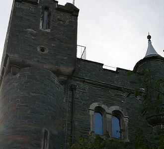 Helen's Tower - The photo shows the top of the northern facade with the cap-house over the stair tower.