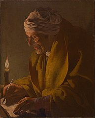 Old Man Writing by Candlelight