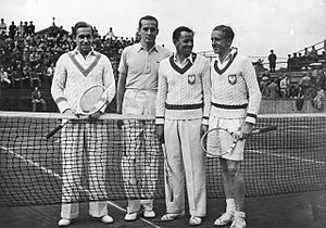 1939 International Lawn Tennis Challenge - Second-round match between Germany and Poland in Warsaw. Henner Henkel, Georg von Metaxa Jozef Hebda, Adam Baworowski