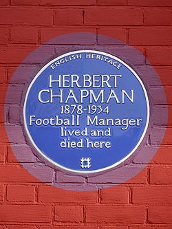 Herbert chapman 1878 1934 football manager lived and died here