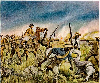 Herero and Namaqua genocide - German Schutztruppe in combat with the Herero in a painting by Richard Knötel.