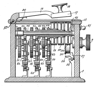 Hill cipher - Hill's cipher machine, from figure 4 of the patent