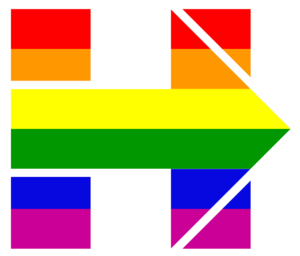 Political positions of Hillary Clinton - Alternate version of Clinton's 2016 campaign logo in rainbow colors, used on Twitter and on Facebook by the campaign, after release of the candidate's April 28, 2015, statement on same-sex marriage
