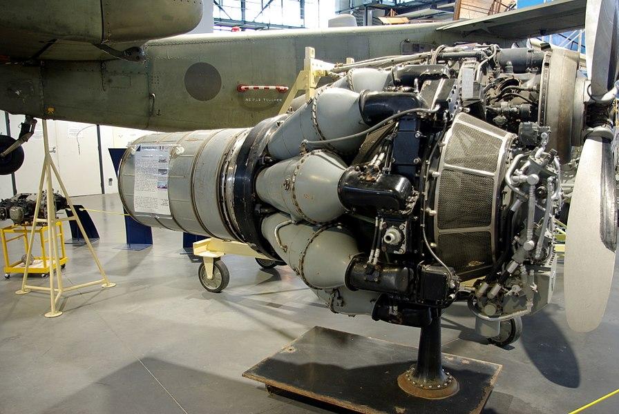 Réacteur Hispano-Suiza Nene (licence Rolls-Royce) exposé à l'Espace Air Passion d'Angers-Marcé.