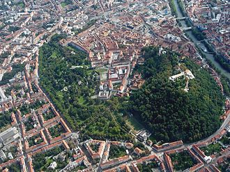 Graz - Aerial photography showing the historic centre of Graz