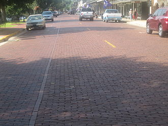 Brick - Bricked Front Street along the Cane River in historic Natchitoches, Louisiana