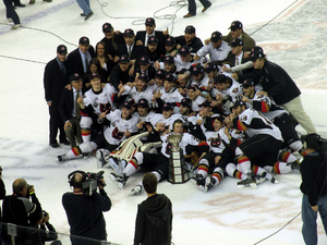 Ed Chynoweth Cup - The Calgary Hitmen celebrate after winning the 2010 championship