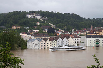 2013 European floods - Flooding in Passau, Bavaria where the Danube, Inn and Ilz rivers converge