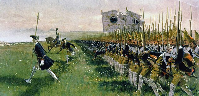 "Hohenfriedeberg, Battle of Hohenfriedeberg, Attack of Prussian Infantry, June 4th, 1745 - shown ""Potsdam Giants"" Grenadier Guards Batallion (1806: No. 6). History Painting by Carl Röchling (1855-1920)."
