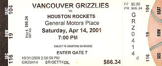 Vancouver Grizzlies - A ticket from the Grizzlies' final home game in Vancouver