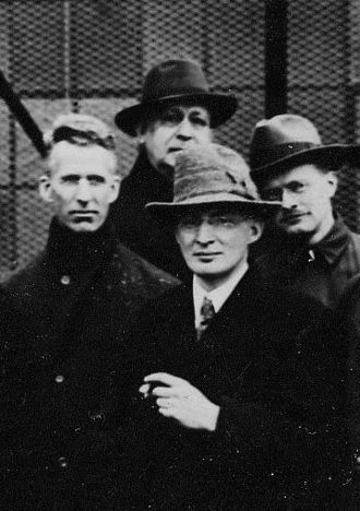 Richard H. Ranger - Scientists attending a tour of the RCA Brunswick wireless station, 1921. Left to right: Albert W. Hull (GE), E.B. Pillsbury (RCA), Saul Dushman (GE), Richard H. Ranger (RCA).
