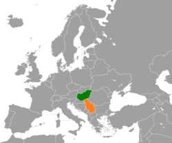 Map indicating locations of Hungary and Serbia