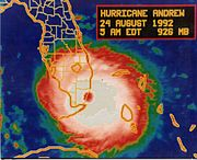 Infrared image of Andrew making landfall in Florida
