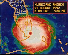 A satellite and map showing an intense hurricane striking South Florida