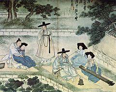 가리마를 쓴 기녀(오른쪽 두번째 담뱃대를 물고 있는 사람)<신윤복필 풍속도 화첩>