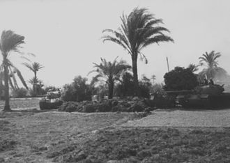 Battle of Ismailia - IDF tanks from Sharon's division during the battle. The battle was mostly fought over agricultural areas and farmlands, as opposed to the desert terrain of the Sinai.