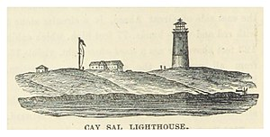 Elbow Cays - Old drawing of the lighthouse. Although known as 'Cay Sal Lighthouse', it was not located on Cay Sal Island