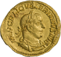 INC-1858-a Ауреус Валериан I ок. 256-257 гг. (аверс).png
