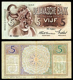 Banknotes of the rupiah - Netherlands Indies (Indonesia) De Javasche Bank-5 Gulden (1937).