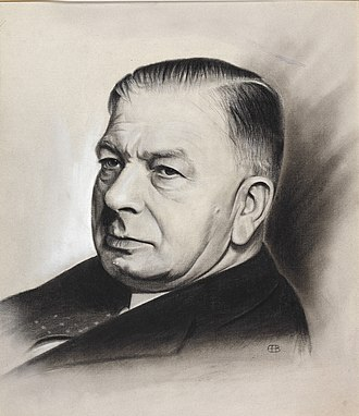 A. V. Alexander, 1st Earl Alexander of Hillsborough - Sketch of Alexander commissioned by the Ministry of Information in the World War II period possibly based on a photograph by