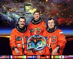 (v.l.) Michail Tjurin, Frank Culbertson und Wladimir Deschurow